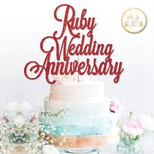 Ruby Wedding 40th anniversary cake topper 40th wedding anniversary Glitter Ruby