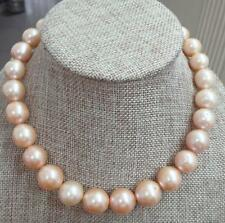 "HUGE 18""13-16mm natural south sea genuine gold pink pearl necklace  629AAA"