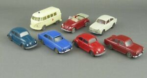 Vintage 1960s Wiking 7 Pc Vw Volkswagen Collection Beetle Bus Cabrio Ambulance