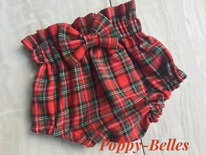 Handmade high waisted bow tartan bloomers baby/girls  various sizes