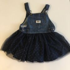 LGirls Denim Navy Blue Tulle OSHKOSH B'GOSH Overall Vestbak Dress 3t 3 Jumper