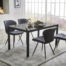 esstisch timbas esszimmertisch kuchentisch tisch in schwarz mit glas 150x90 cm