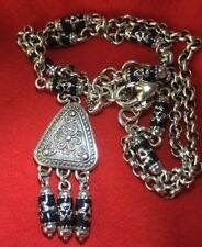 Brighton Jordana Silver & Black Bead Necklace Dangle Drop Medallion Nwot