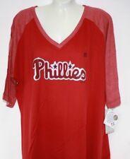 Womens Majestic Philadelphia Phillies V Neck Logo Style Baseball MLB Shirt 2xl