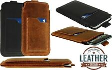 SLIM PULL-UP CASE COVER POUCH MADE OF GENUINE LEATHER WITH CARD POCKET FOR PHONE