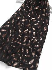 Black Scarf gold metallic feather print design scarf scarves shawl present gift