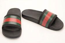 Gucci black green red 8 rubber signature stripe pool slide sandal UK7 shoe $210