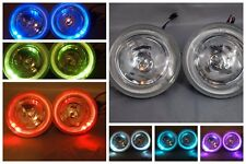 UNIVERSAL 7 COLOR HALO 12V H3 55W ROUND FOG LIGHTS DRIVING LAMPS HARNESS KIT