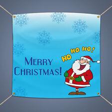 Merry Christmas Santa Banner, 3' X 2' Outdoor Holiday Party Decor Vinyl Pvc Sign
