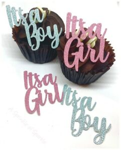 6 IT'S A BOY IT'S A GIRL GLITTER CUPCAKE TOPPERS GENDER REVEAL BABY SHOWER BIRTH