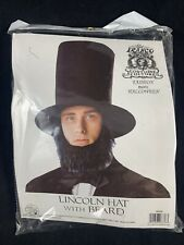 Black Abe Abraham Lincoln Costume Tall Stove Pipe Top Hat And Beard Civil War