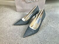 NEW Jimmy Choo Romy 85 Lame Glitter Pumps Anthracite/Silver, Size EUR 37 US 7