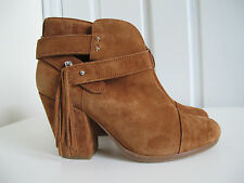 NEW $525 Rag & Bone Harrow Fringe Ankle Boots Tan Brown sz 37 7 Suede