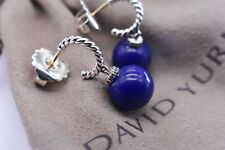 David Yurman Silver Earrings With Lapis Lazuli Beads