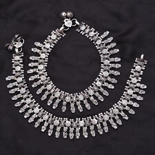 Silver Antique Oxidised Traditional Jewelry Indian Tribal Anklet Pair Of Payal