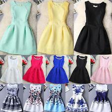 Women Summer Sleeveless Mini Skirt Ladies Daily Evening Party Skater Sun Dresses