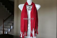 Red Fashion Jewelry Scarf w Decoration Rhinestone Butterfly Necklace Pendant