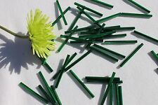 30mm Straight Silver Lined Hunter Green Czech Bugle Bead Crafts Jewelry/50 grams
