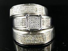 Bridal Engagement Round Cut Diamond Ring Trio Band Set