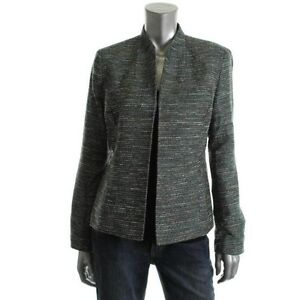 Kasper Jewel Box Green Tweed Metallic Open Front Long Sleeves Jacket Blazer  NEW