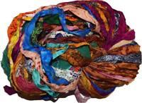100g Sari Silk Ribbon craft ribbon, jewelry making Print shades multi