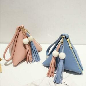 Cute Women PU Leather Tassel Wallet Clutch Triangle Shape Handbag Coin Purse Bag