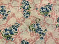 Vtg Cotton Feed / Flour Sack Fabric Blue And White Tulips On Pink Background