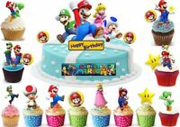Super Mario brothers Eßbar Tortenaufleger Party Deko Muffin Bild Cupcake Luigi