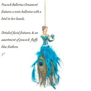 """7""""  Feathers Peacock Ballerina holiday Ornament"""