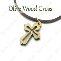 Wooden Israel Necklace Olive Wood Christian Orthodox Cross Jewelry Pendant Women