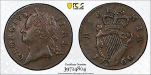 1760 Ireland Farthing 1/4 D PCGS AU55 Copper Registry Coin KM 135