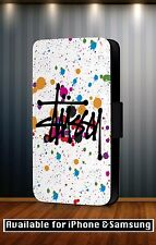 Hipster Fashion Stussy Colourful Art Faux Leather Flip Phone Case Cover Y270