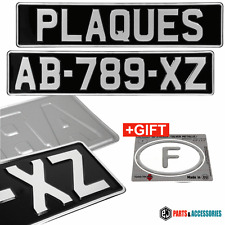 2x FRENCH OLD STYLE OBLONG BLACK AND SILVER PRESSED Embossed METAL Number Plates