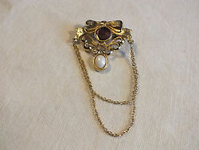 Beautiful Brooch Pin Gold Tone Amethyst White Cabochons Chains Signed Bergere