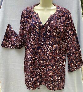 women's sz L Gloria Vanderbilt Tunic Top Shirt Long Sleeve Viscose black orange