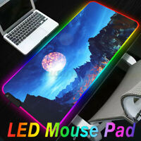 ❤ Extended Colorful LED Lighting RGB Gaming Mouse Pad Keyboard Mat for PC