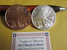2017 Blinded Liberty Silver Shield 2 oz .999 Silver / Copper BU W/COA
