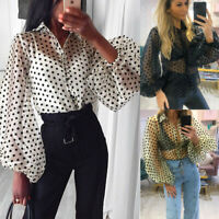 Women Long Puff Sleeve Solid T-shirt Casual Loose Blouse Pullover Clubwear Tops