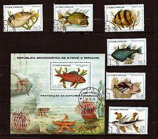 SAN TOME E PRINCIPE série avec bloc N° 548-554 poissons exotiques de mer C115