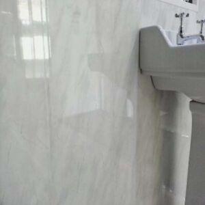 Light grey marble 5mm  Bathroom PVC Cladding Plastic Shower Wall Panels wet wall
