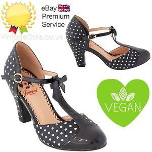 Banned Apparel Vegan Polka Dot 50s Kelly Lee T-Strap Black White Shoes Pumps
