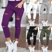 Women Pencil Casual Denim Skinny Jeans Pants High Waist Jeans Trousers Leggings