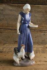 Bing & Grondahl Porcelain Figure Girl Feeding Chickens