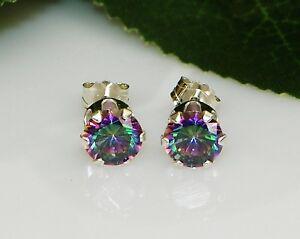 Rainbow Fire Mystic Topaz Round Diamond Cut Sterling Silver Stud Earrings