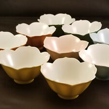 1950s Japan Tulip Lotus Sauce or Rice Bowls LOT OF 9 yellow, green, pink, blue