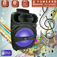 "8"" Party Portable Bluetooth Speaker  Led Portable Stereo Tailgate and Remote"