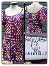 Baby Phat Shoulder Mini Dress Medium Blousen Bottom Silky Floral Wine Teal