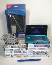 Nintendo 3DS Aqua Blue Handheld System Bundle.11 Games And Brand New Case.