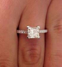 1.50 Carat Princess Cut Solitaire Diamond Engagement Ring 14K White Gold Over