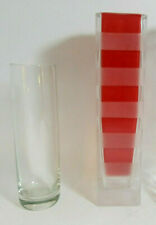 Lot of 2 Glass Florist Bud Vases-Cylinder & FTD Frosted Band w/Red Sleeve-USED